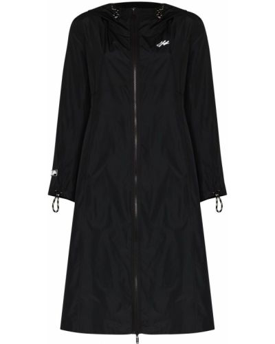Czarny płaszcz przeciwdeszczowy z długimi rękawami z printem Off-white