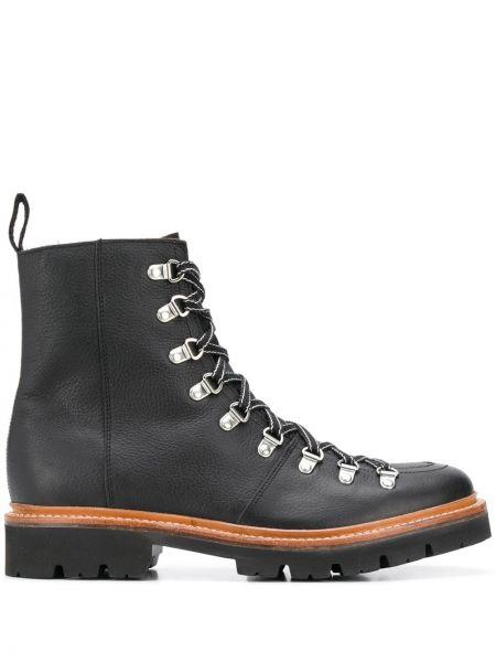 Кожаные черные треккинговые ботинки на шнуровке на каблуке Grenson