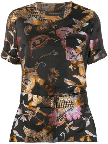 Оранжевая шелковая блузка с вырезом круглая Christian Pellizzari