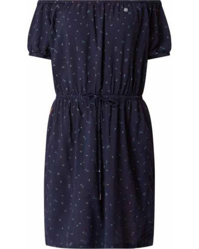 Niebieska sukienka mini rozkloszowana z wiskozy Ragwear