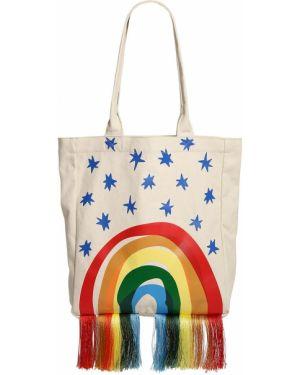 Biała torebka z frędzlami bawełniana Stella Mccartney Kids