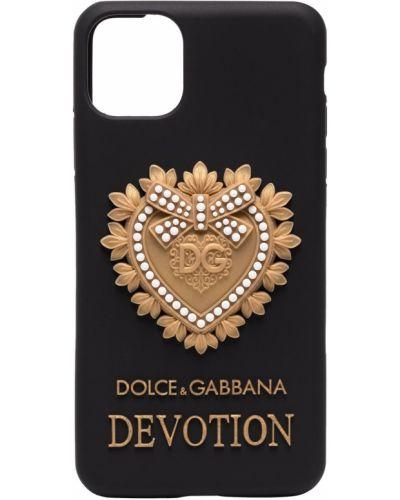Włókienniczy czarny etui na klucze z łatami Dolce And Gabbana