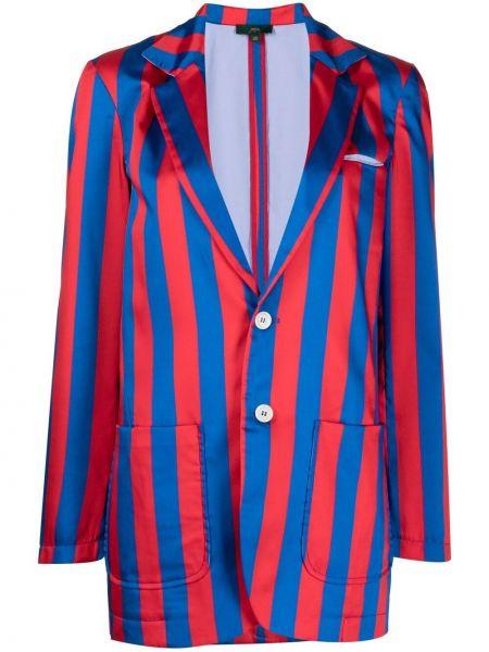 Синий удлиненный пиджак с накладными карманами с нашивками Jejia