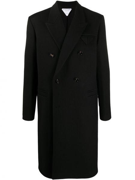 Czarny płaszcz wełniany z długimi rękawami Bottega Veneta