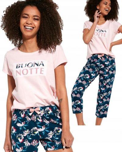 Piżama bawełniana krótki rękaw w kwiaty Cornette