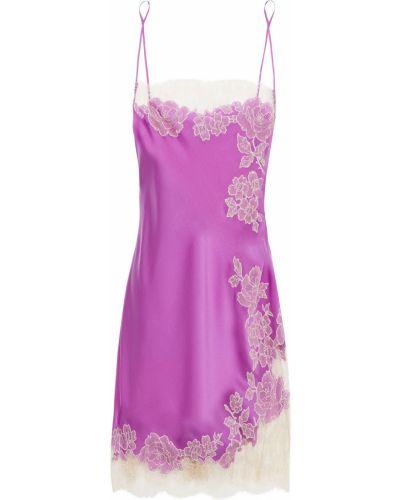 Fioletowa satynowa koszula nocna koronkowa Carine Gilson