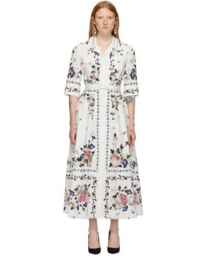 С рукавами открытое белое платье с поясом Erdem