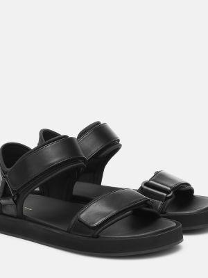 Черные кожаные туфли из натуральной кожи на крючках The Row