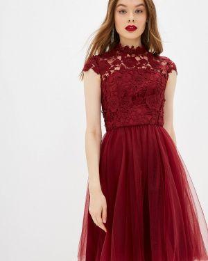Вечернее платье бордовый красный Chi Chi London