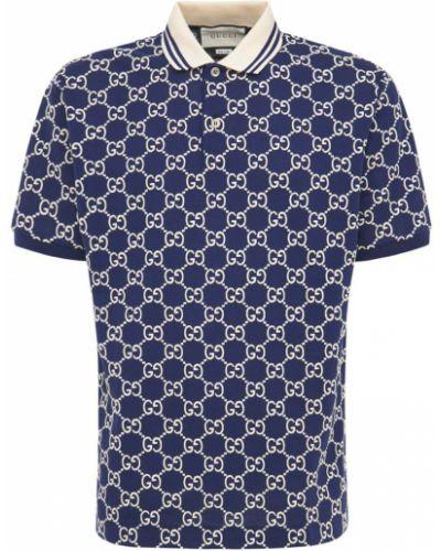 Polo bawełniana - niebieska Gucci