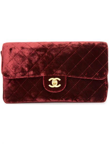 Бархатная красная стеганая кожаная сумка винтажная Chanel Pre-owned
