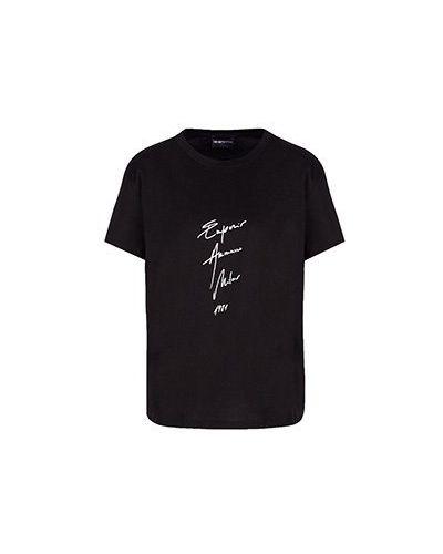 Хлопковая черная футболка Emporio Armani