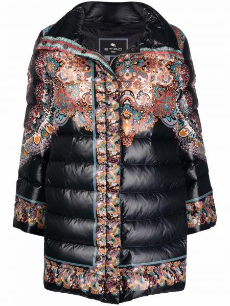 Черное длинное пальто Etro