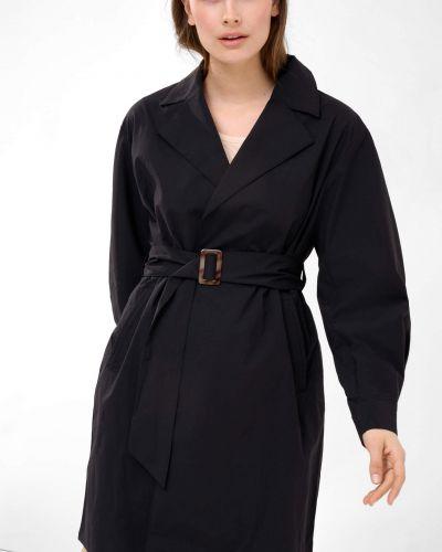 Czarny trencz bawełniany z paskiem Orsay