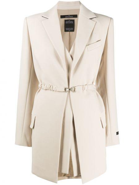 Бежевый удлиненный пиджак с поясом из вискозы Rokh