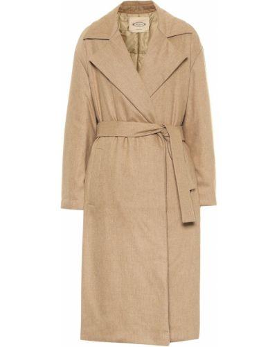 Бежевое шерстяное пальто стрейч Tod's