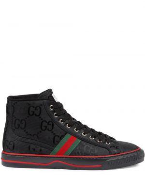 Czarne sneakersy sznurowane koronkowe Gucci