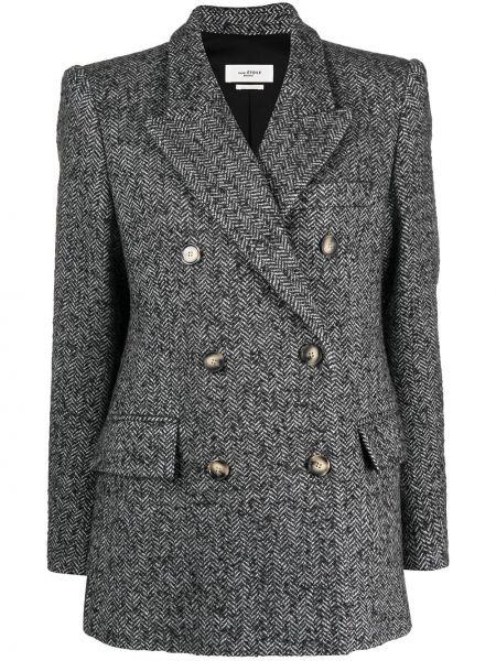 Шерстяной черный удлиненный пиджак двубортный Isabel Marant étoile