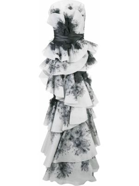 Вечернее платье с оборками длинное Marchesa