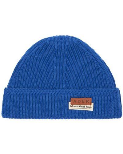 Wełniany niebieski czapka z haftem Ader Error