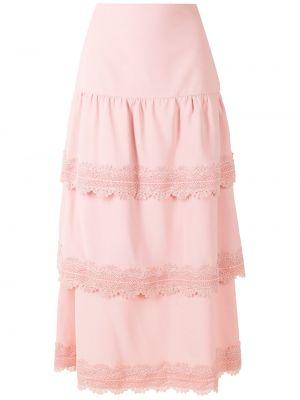 Розовая с завышенной талией прямая юбка миди Martha Medeiros