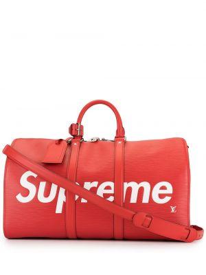 Красная кожаная дорожная сумка на молнии Louis Vuitton
