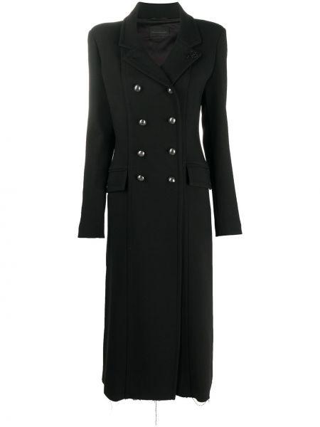 Шерстяное черное длинное пальто на пуговицах Diesel Black Gold