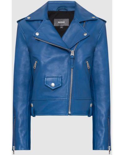 Синяя кожаная куртка Mackage