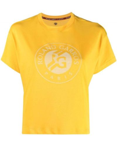 Прямая желтая футболка с вырезом Lacoste