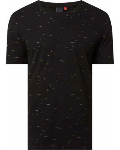 Czarny t-shirt bawełniany z printem Ragwear