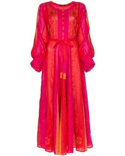 Платье с поясом розовое на пуговицах Vita Kin