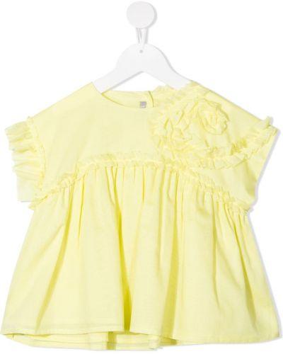 Желтая блузка с короткими рукавами с оборками Il Gufo