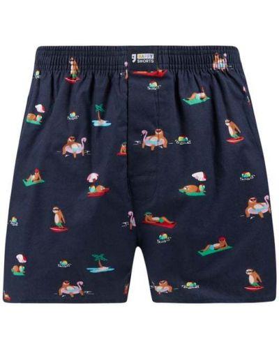 Niebieskie majtki bawełniane z długimi rękawami Happy Shorts