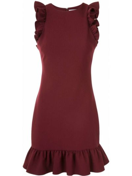 Красное платье без рукавов с оборками Likely
