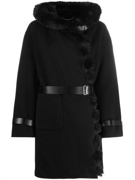 С ремешком с рукавами черное шерстяное пальто с капюшоном Ermanno Scervino
