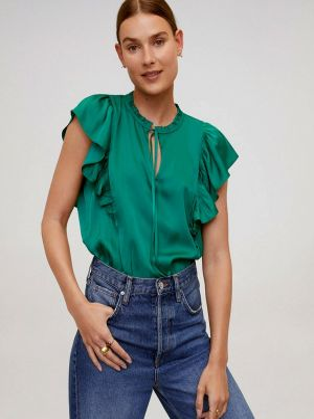 Блузка с коротким рукавом зеленый весенний Mango