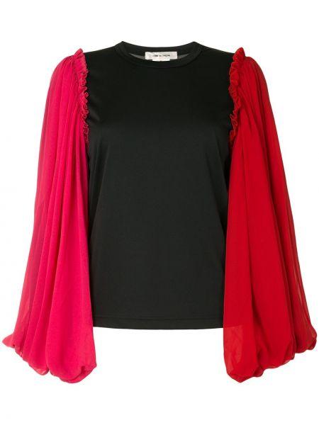 Черная прямая блузка с длинным рукавом с оборками с вырезом Comme Des Garçons