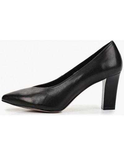 Туфли на каблуке черные кожаные Berkonty