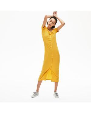 Платье на пуговицах желтый Lacoste