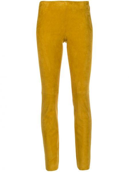 Желтые кожаные леггинсы узкого кроя Stouls