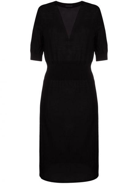 Трикотажное вязаное черное платье миди Pinko