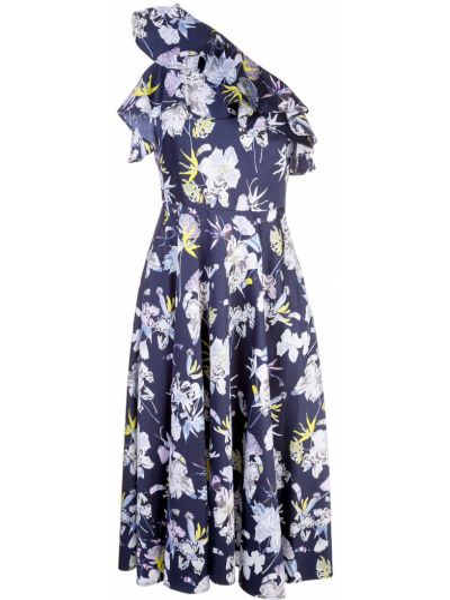 Синее платье миди на одно плечо с оборками без рукавов Jason Wu Collection
