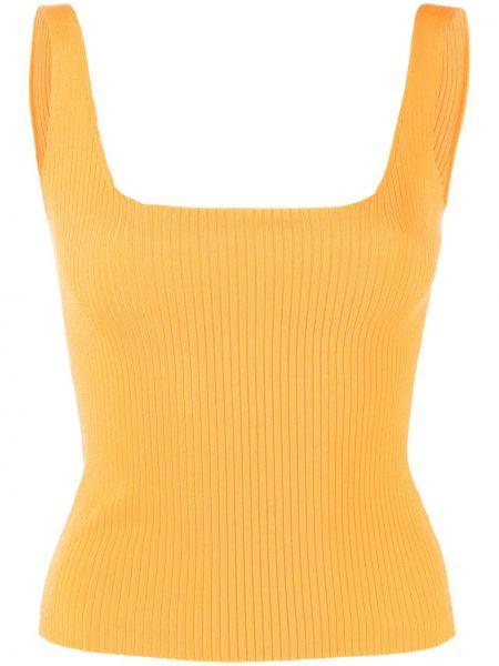 Желтый топ без рукавов из вискозы стрейч Sandro Paris