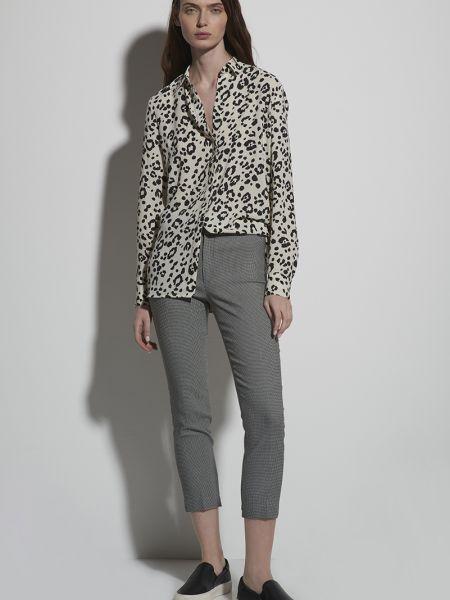 Нейлоновые серые зауженные укороченные брюки с поясом Vassa&co