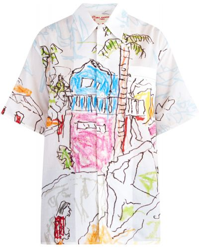 Блузка с коротким рукавом на пуговицах хлопковая Marni