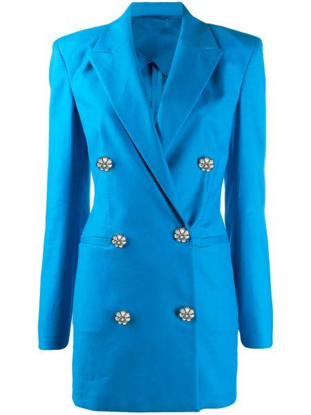 Niebieska sukienka mini z długimi rękawami z wiskozy Attico