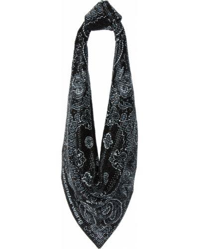 Czarny szalik srebrny z siateczką Alexander Wang