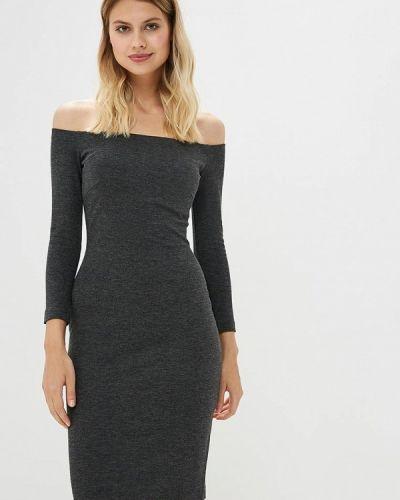 Платье серое с открытыми плечами Ruxara