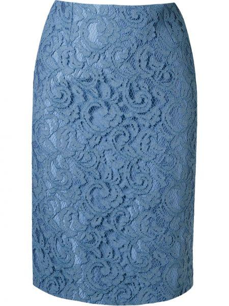 Ажурная синяя юбка карандаш на молнии с разрезом Martha Medeiros