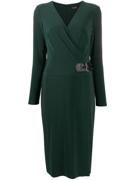 Прямое зеленое платье макси с V-образным вырезом с длинными рукавами Lauren Ralph Lauren